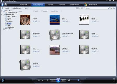 Windows Media Player 11 - Genreoverzicht