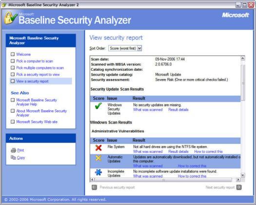 Microsoft Baseline Security Analyzer 2.0.1 screenshot (resized)