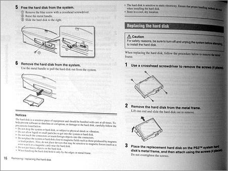 Deel van de PlayStation 3 handleiding over het vervangen van de harde schijf