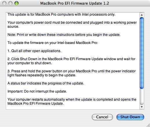 Apple MacBook Pro EFI Firmware Update 1.2