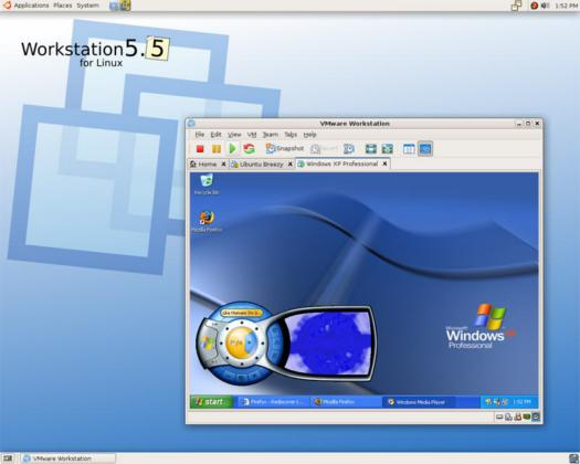 VMware Workstation 5.5 screenshot (resized)