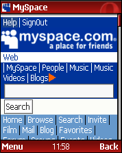 Opera Mini 3.0 - MySpace