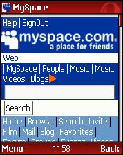 Opera Mini 3.0 - MySpace