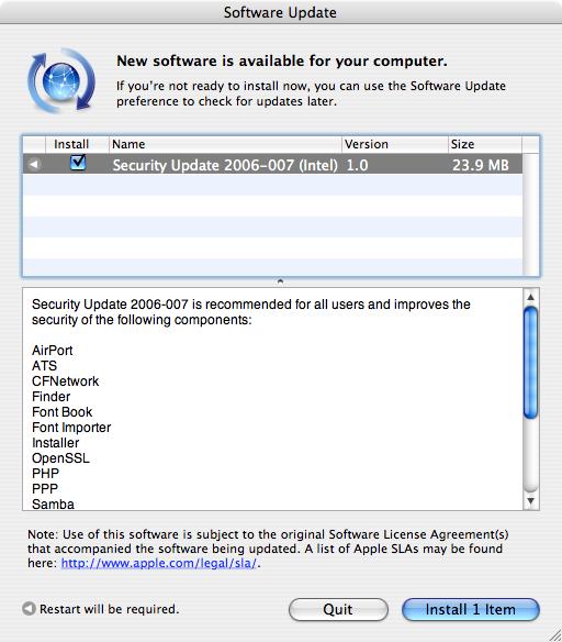 Apple Mac OS X Security Update 2006-007