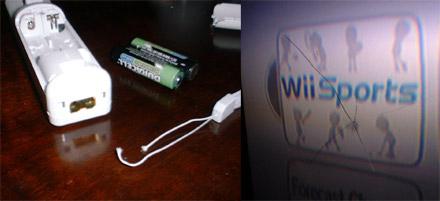 Wii met gecrashte televisie