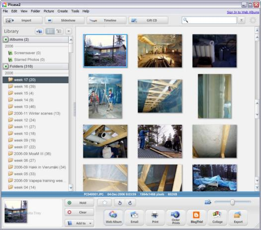 Google Picasa 2.6.0 build 35.94 screenshot (resized)