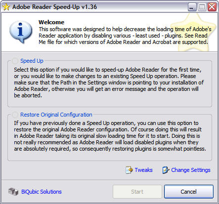 Adobe Reader SpeedUp 1.36 screenshot
