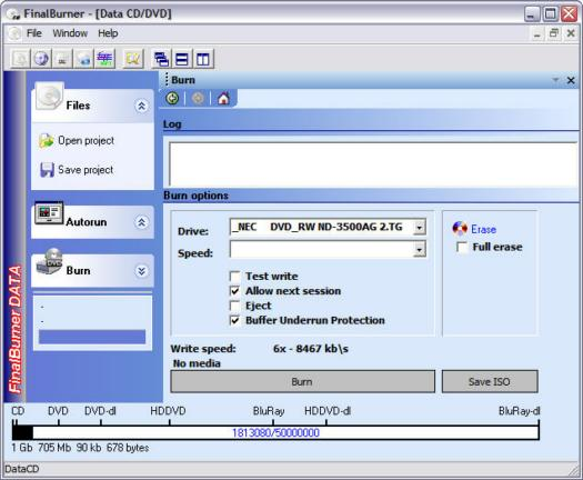 FinalBurner 1.7.0.51 screenshot (resized)