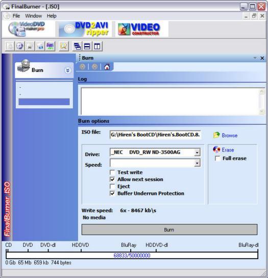 FinalBurner 1.8.0.67 screenshot (resized)