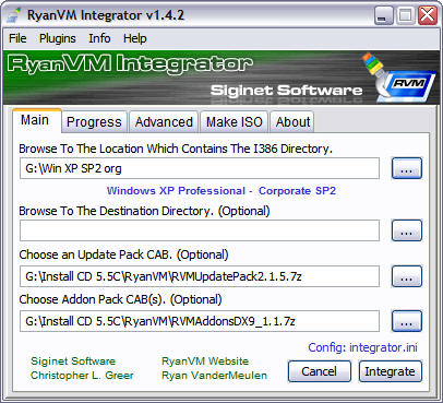 RyanVM's Post-SP2 Update Pack 2.15 in RVM Integrator 1.4.2 screenshot