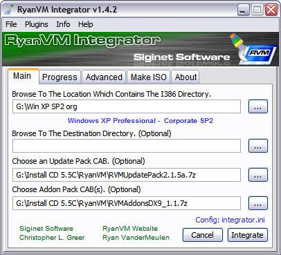 RyanVM's Post-SP2 Update Pack 2.15a in RVM Integrator 1.4.2 screenshot