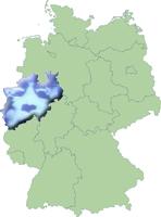 Kaart Duitsland met Noord-Rijnland-Westfalen-Big Brother-montage