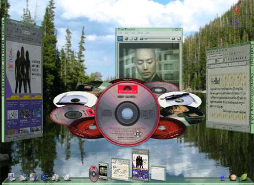 Looking Glass-interface met 3d-muziekspeler