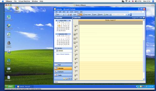 VMware Fusion met Windows XP op Mac OS X (kleiner)