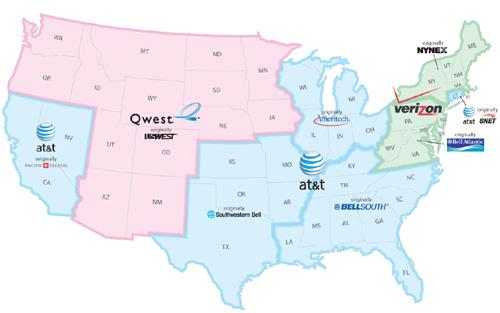 Dekkingsgebied ex-Bell-telco's in de Verenigde Staten (bron: Wikipedia)