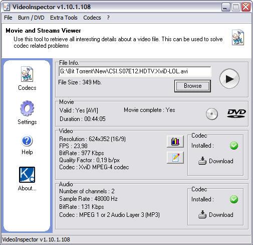 VideoInspector 1.10.1.108 screenshot