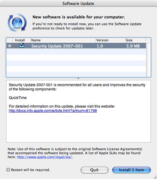 Apple Mac OS X Security Update 2007-001