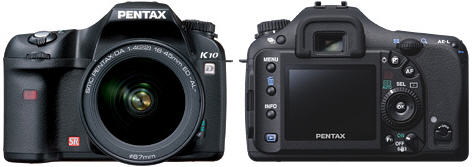 Pentax K10D voor- en achterkant