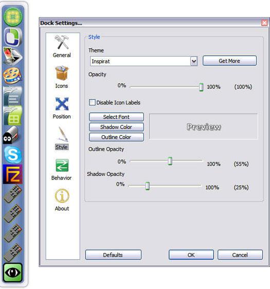 RocketDock 1.3.0 screenshot (resized)