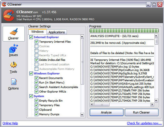 Crap Cleaner 1.37.456 screenshot (resized)