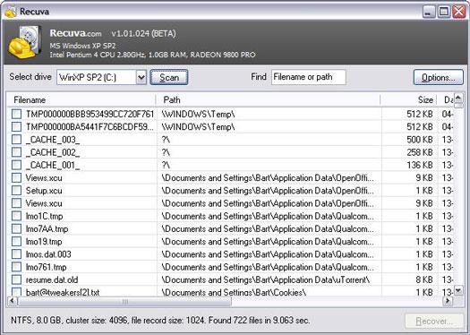 Recuva 1.01.24 beta screenshot (resized)
