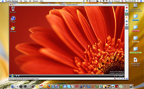 Windows Vista op Mac OS X (Parallels)