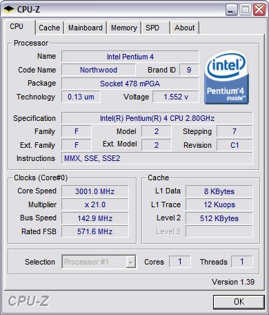 CPU-Z 1.39 screenshot
