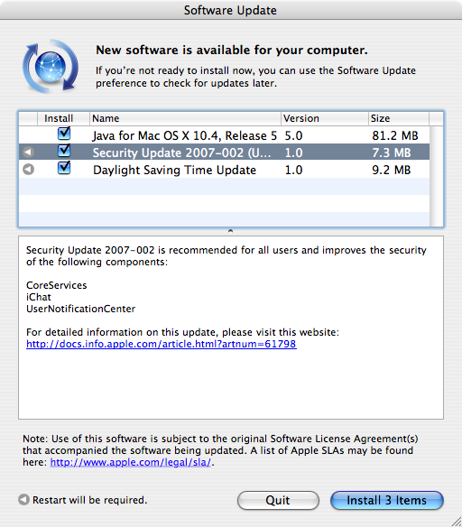 Apple Mac OS X Security Update 2007-002