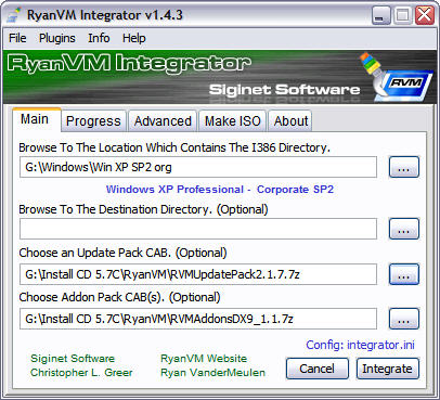 RyanVM's Post-SP2 Update Pack 2.17 in RVM Integrator 1.4.3 screenshot