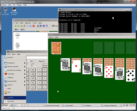 Microsoft Virtual PC 2007 - ReactOS onder Vista (klein)