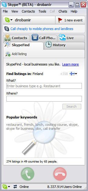 Skype for Windows 3.1 screenshot met SkypeFind