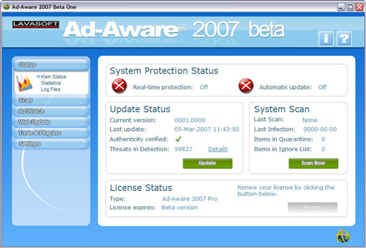 Ad-Aware 2007 beta screenshot (resized)