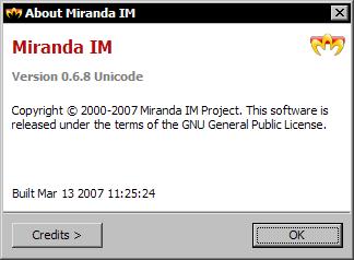 Miranda IM 0.6.8 - aboutscherm