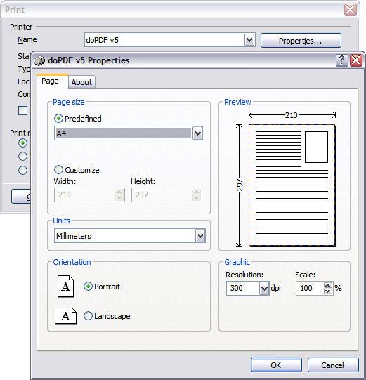 doPDF printing properties