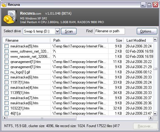 Recuva 1.01.048 beta screenshot