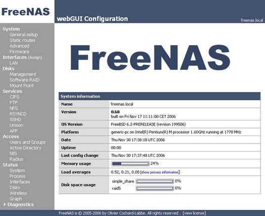 FreeNAS screenshot (resized)