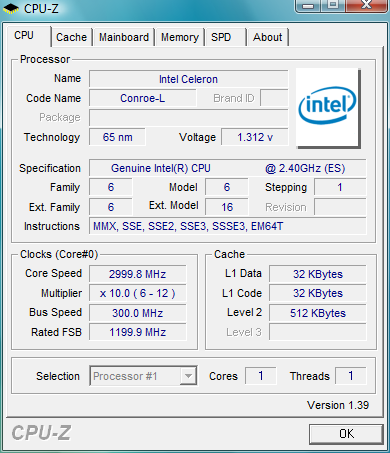 CPU-Z screenshot van Celeron 440 @ 3,0GHz