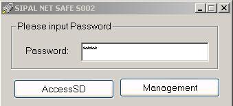 Secustick password dialogue window