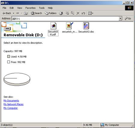 Secustick screenshot of the files