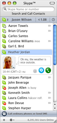 Skype for Mac screenshot
