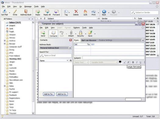 Mozilla Thunderbird 2.0.0.0 screenshot (resized)