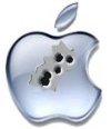 Apple-logo met kogelgaten