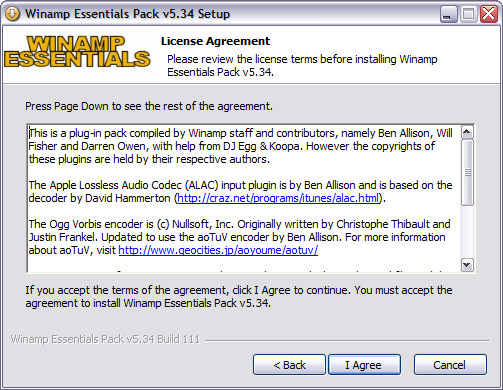 Winamp Essentials Pack 5.34 installatie screenie
