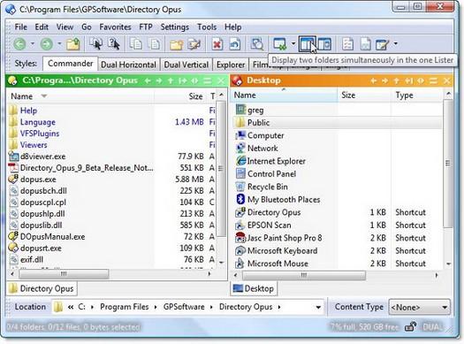 Directory Opus 9 screenshot (resized)