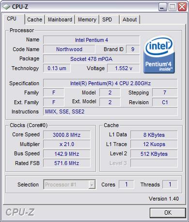 CPU-Z 1.40 screenshot