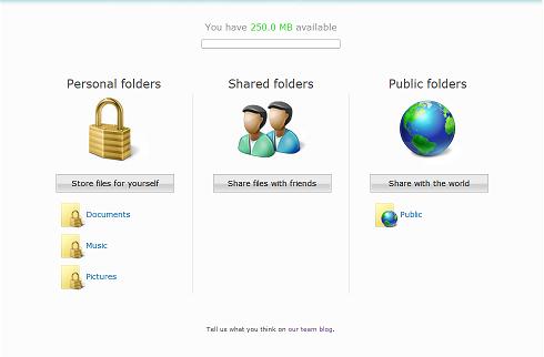 Screenshot van Microsoft Live Drive