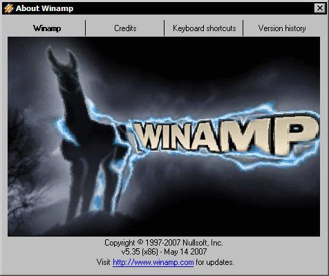 Winamp 5.35 - about
