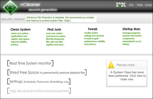 nCleaner 2.3.1 screenshot (resized)