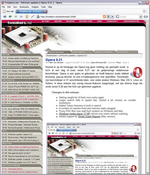 Opera 9.21 screenshot