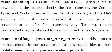'Feature Controls' met betrekking tot mimetype-afhandeling